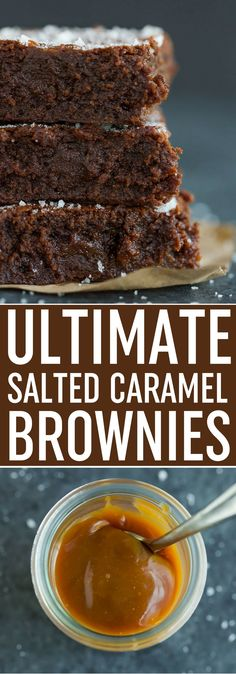 Sweet and Salty Brownies - Rich and fudgy brownies with a layer of salted caramel in the middle and sprinkled with fleur de sel. Best salted caramel brownies! via @browneyedbaker