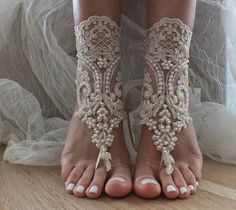 Free Ship Barefoot Sandals champagne beach shoes, lariat sandals, wedding bridal, bellydance, wedding shoes, summer wear,