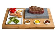 """Wooden Bamboo Base 16.5"""" x 10"""" x 1.2"""" (42x 25x3cm)Ceramic platter 8"""" x 4.75"""" (20 x 8 cm)3 x Ceramic condiment dishes 1.75"""" diameter. (4.5cm)Lava stone 4.75"""" x 7.75"""" x 1.2"""" set in stainless steel tray.( 20 x 12 cm) Weight 11lbs (5kgs)"""