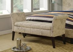 Junes Tufted Flax Fabric Storage Bench Ivory Script