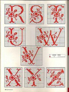 Maria Ferreira uploaded this image to 'Bordados ponto cruz'. See the album on Photobucket. Monogram Cross Stitch, Cross Stitch Alphabet, Cross Stitch Samplers, Cross Stitch Charts, Cross Stitch Designs, Cross Stitching, Cross Stitch Embroidery, Hand Embroidery, Stitch Patterns