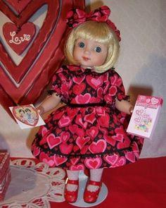 "Custom Handmade Ann Estelle by Tonner 10"" Doll Ensemble: ""Valentine Party"" Dress, Hair Bow,Panties,Petticoat & Valentines"