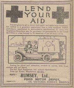 An ad on behalf of the British Red Cross. 10 September, 1914.