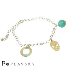 Gold plated bracelet made ​​of sterling silver 925 #skull; #swarovski; #gold; #bracelet