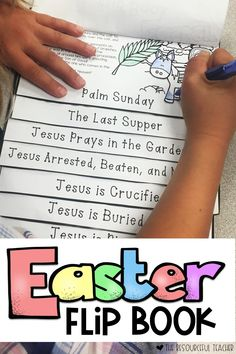 Use this Christ-Centered Easter Flip Book for your classroom or Sunday school! This religious Easter Activity Flip Book uses Scripture passages and pictures to provide a fun and creative way for your children to focus on the true meaning of Easter. Easy t Easter Story For Kids, Easter Activities For Kids, Easter Crafts For Kids, Easter Story For Preschoolers, Easter With Kids, Easter Stories, Bible Activities, Easter Jesus Crafts, Jesus Easter
