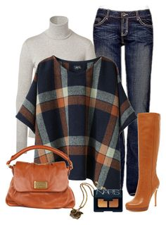 """""""Orange/Navy Plaid"""" by chrissykp ❤ liked on Polyvore featuring Ralph Lauren, BKE, A.P.C., Marc by Marc Jacobs, MICHAEL Michael Kors, Amrita Singh, NARS Cosmetics, plaid, turtleneck sweaters and owl jewelry"""
