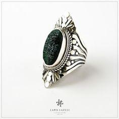 Drusy malachite in a handmade oxidised sterling silver ring. Oxidized Sterling Silver, Malachite, Gemstone Rings, Gemstones, Unique, Handmade, Jewelry, Hand Made, Jewlery