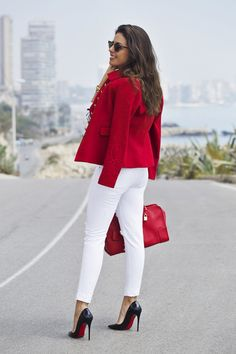Skinny white jeans,red hot jacket,heels – New York Fashion New Trends Office Fashion, Work Fashion, Fashion Outfits, Womens Fashion, Fashion Trends, Casual Work Outfits, Stylish Outfits, Cute Outfits, Mode Costume