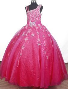 Asymmetrical Neck Beaded Hot Pink Pageant Dresses for Toddlers -$158.29