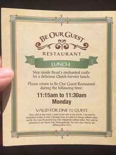 Hoops to jump through to obtain Be Our Guest lunch seating.  Hottest lunch ticket around ... but why is the restaurant only half full with staff standing around?