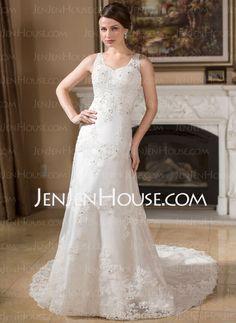Wedding Dresses - $186.99 - A-Line/Princess V-neck Court Train Organza Satin Wedding Dress With Lace Beadwork (002000383) http://jenjenhouse.com/A-Line-Princess-V-Neck-Court-Train-Organza-Satin-Wedding-Dress-With-Lace-Beadwork-002000383-g383