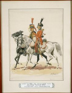 7th Regiment Hussars Trumpeter in full dress, by Lucien Rousselot.
