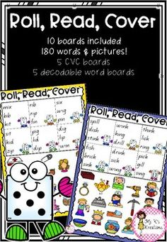 Roll, Read and Cover Literacy Games, Word Board, Word Pictures, Decoding, Rolls, Student, Cover, Fun, Buns