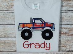 Boy's shirt; Boy's shirt with truck; Monster truck; Personalized shirt; Boy's summer shirt; Boy's monster truck; Shirt with truck; by Jus4boys on Etsy https://www.etsy.com/listing/287955725/boys-shirt-boys-shirt-with-truck-monster