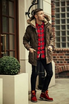 Men's Dark Brown Parka, Red Plaid Long Sleeve Shirt, Black Skinny Jeans, Red Suede Boots