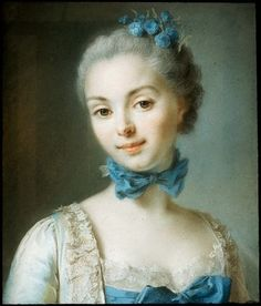 Portrait of a Young Woman Wearing a Blue Ribbon at her Throat Attributed to Jean Martial Frédou, French, 1711–1795