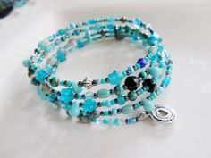 Turquoise Beaded Memory Bracelet Silver by Redpeonycreations, $22.00