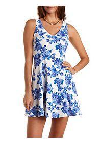 Sleeveless Floral Print Skater Dress