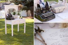 Antique vanity, with vintage typewriter, used as a guest table