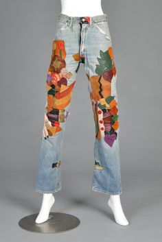 1960s Custom Patchwork Leather Wrangler Jeans