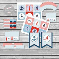 Decoración personalizada Comunión Marinero  #kit imprimible  #comunion  #marinero