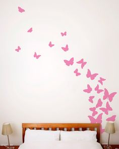 Butterflies, Pink Ribbon   Wall Decal