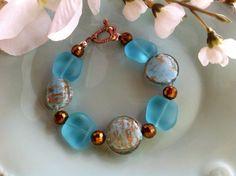 Aqua sea glass bracelet sea glass jewelry by DakotaDesignsbyVicki