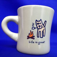 Life Is Good Mug CAMPFIRE With Dog Roasting Marshmallow Green Coffee Cup Diner