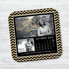 Black and Gold Glitter Save the Date Magnet by BrownFoxCreative