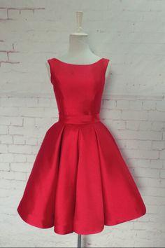 2016 elegant red short prom dresses, backless satin prom dresses,red evening…