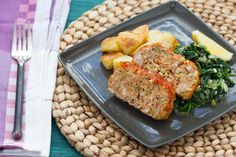 Healthy Meatloaf with Roasted Potatoes and Spinach