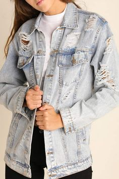 db7257e508374 Umgee USA Distressed Denim Jacket. Light Wash ...