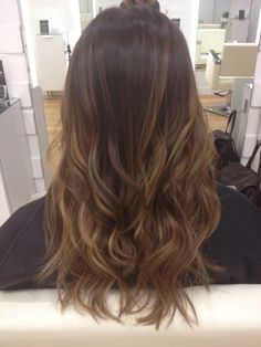 No Bleach sombre. Soft natural caramel highlights on chocolate brown hair.