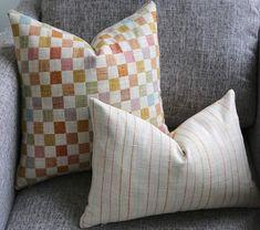 Patchwork Pillow Cover / Pink pillow cover / Orange 22 x 22 pillow / Aqua Cushion Cover / Cream Raw Silk Pillowcase Pink Pillow Covers, Pink Pillows, Velvet Pillows, Boho Pillows, Anchor Pillow, Pillow Texture, Patchwork Patterns, Pillow Fabric, Fabric Samples