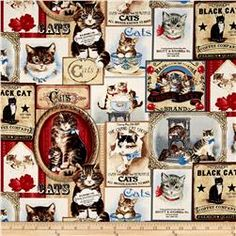 Timeless Treasures Cat Labels Cream Fabric By The Yard: Designed for Timeless Treasures this cotton print is perfect for quilting apparel and home décor accents. Colors include black brown red coral blue grey tan orange cream and white. Quilting Blogs, Quilting Designs, Stray Cat Strut, Cat Company, Cream Cat, Timeless Treasures Fabric, Cat Patch, Cat Fabric, Cat Quilt