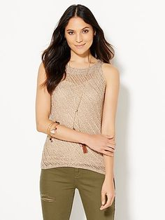 Shop Open-Stitch Hi-Lo Marled Knit Tank Top . Find your perfect size online at the best price at New York