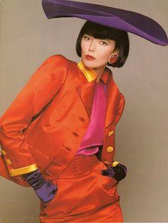 Vogue Italia 1987 YSL Haute Couture Model Brynja Sverris Photo by David Bailey