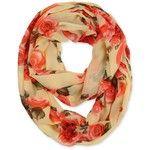 Corciova® Graceful Roses Infinity Scarf (Beige) at Amazon Women's Clothing store: