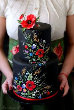 Schwarze Hochzeitstorte - Cakes, Cupcakes, Cookies and More - Fancy Cakes, Cute Cakes, Pretty Cakes, Gorgeous Cakes, Amazing Cakes, Beautiful Cake Designs, Dessert Nouvel An, Decors Pate A Sucre, Bolo Floral