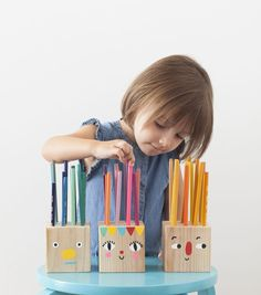 Pencil Holder Heads from Mer Mag's book PLAYFUL: Fun Projects to Make With and For Kids #playful #playfultoysandcrafts #kidscrafts #mermag