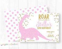 Pink Glitter Dinosaur Invitation  Dino Birthday by PaperclutchShop