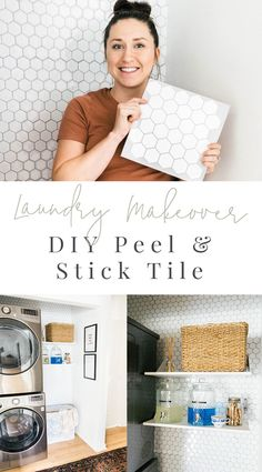 Laundry Room Makeover - DIY Peel and Stick Tile (with VIDEO) — Farmhouse Living - - Today we're sharing one of the easiest DIYs we've done to date that told made over our hallway laundry room! This peel and stick tile looks so real and was so easy. Peel And Stick Tile, Peel And Stick Wallpaper, Stick On Tiles Floor, Stick On Tiles Bathroom, Peel And Stick Countertop, Tile Around Bathtub, White Bathroom Paint, Adhesive Floor Tiles, Vinyl Flooring Bathroom