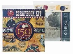 """Take your creativity to a whole new level with our Civil War scrapbook kit. It includes 5 full sheets of patterned scrapbook paper (12""""x12"""") and 1 half sheet of graphic embellishments. Start making memories today!    This item is part of a special product line that Jefferson National Parks Association has developed to help commemorate the American Civil War Sesquicentennial."""