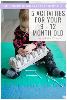 5 Activities for 9 – 12 Month Olds 5 Simple activities for you 9 – 12 month old baby that works on their fine motor skills. Gross Motor Activities, Toddler Learning Activities, Sensory Activities, Infant Activities, Learning Games, Kids Learning, Indoor Activities, Baby Sensory Play, Baby Play