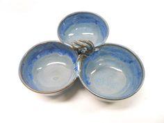 Pottery Salsa Server, Salsa Bowl Set, Pistachio Server, Ceramic Salsa Server, Sauce Bowl Set, Three Connected Bowls, Blue with Purple Drips