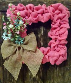Items similar to Square pink burlap wreath with blue burlap bow on Etsy Deco Mesh Crafts, Wreath Crafts, Deco Mesh Wreaths, Diy Wreath, Wreath Ideas, Wood Wreath, Fabric Wreath, Frame Wreath, Burlap Bows