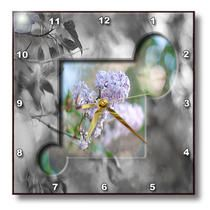 3dRose - Jos Fauxtographee Realistic - Bush in Focus with Lilac Color in Front Cut in a Square and Two Circles Background Black and Wh