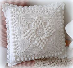 Handmade Crochet Pillow Cover /ecru cotton yarn with natural wood buttons,Christmas giftSee Free Footsteps, Charts, and Instructions. Crochet Bedspread Pattern, Crochet Headband Pattern, Crochet Flower Tutorial, Crochet Square Patterns, Crochet Squares, Crochet Motif, Baby Knitting Patterns, Pattern Flower, Crochet Pillow Cases