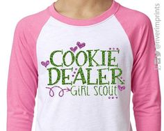 COOKIE DEALER Girl Scouts, glittery youth raglan