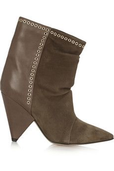 Isabel Marant Lance embellished suede and leather ankle boots | NET-A-PORTER